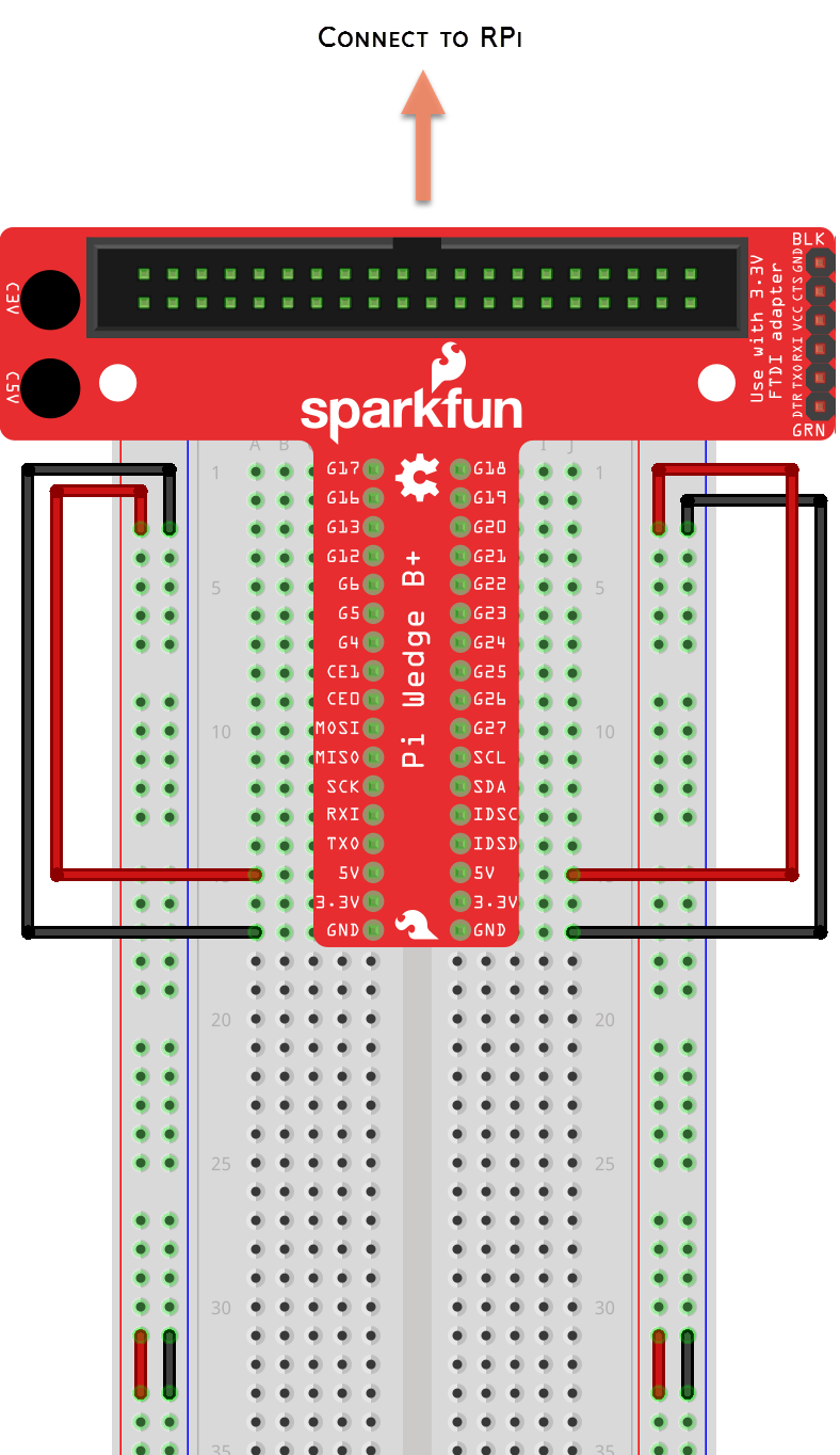 Sparkfun Education How To Library Using The Gpio Pins With Circuit Diagram Breadboard Breadboards Are Often Split Between Upper Half And Lower You May Need Add A Jumper For Power Ground Make Sure That